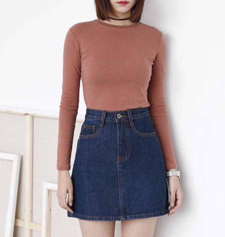 e1774530c3d Mono-coloured Pockets Designed Denim Skirt
