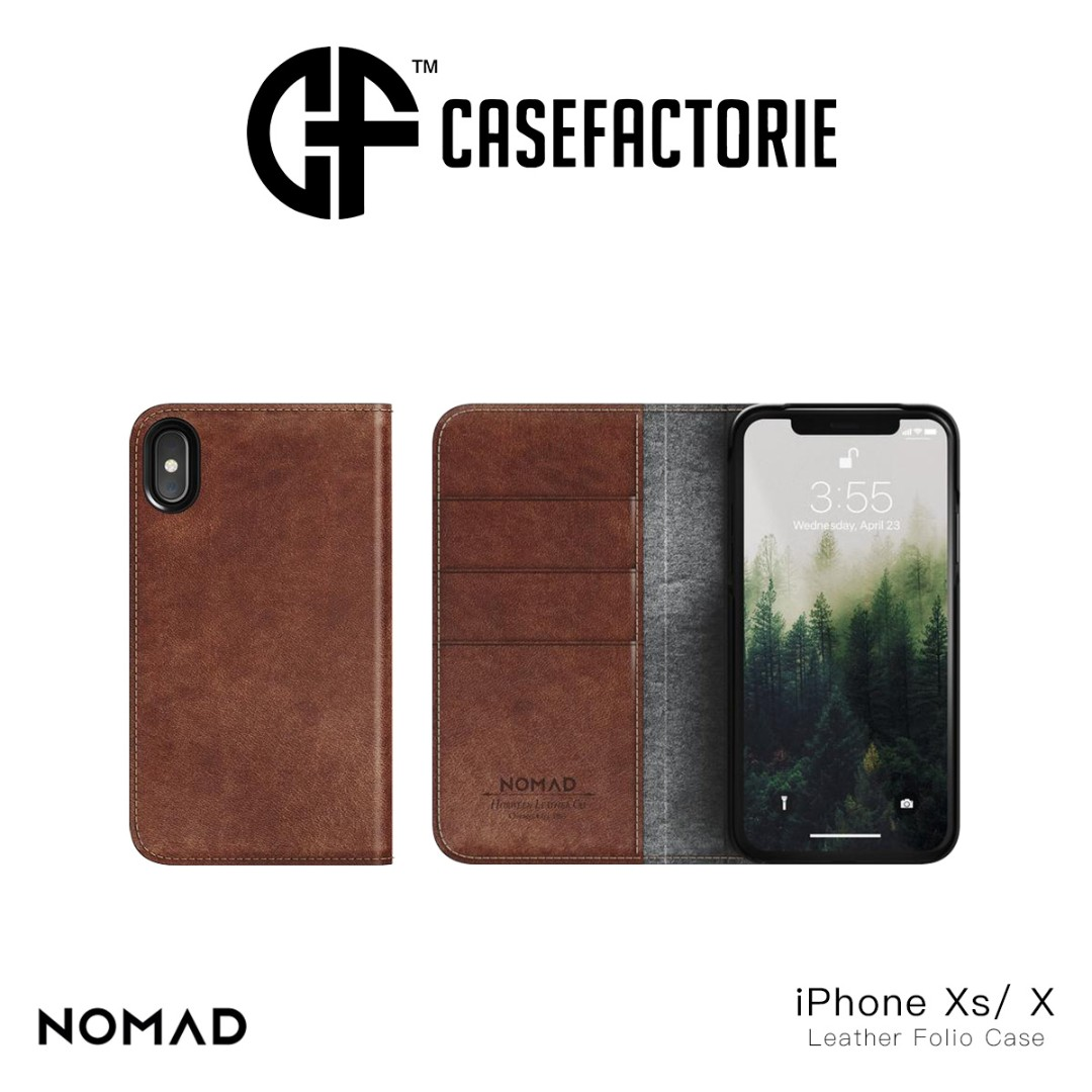 new arrival d5146 6ab7b Nomad Horween Leather Folio Case for iPhone X/Xs