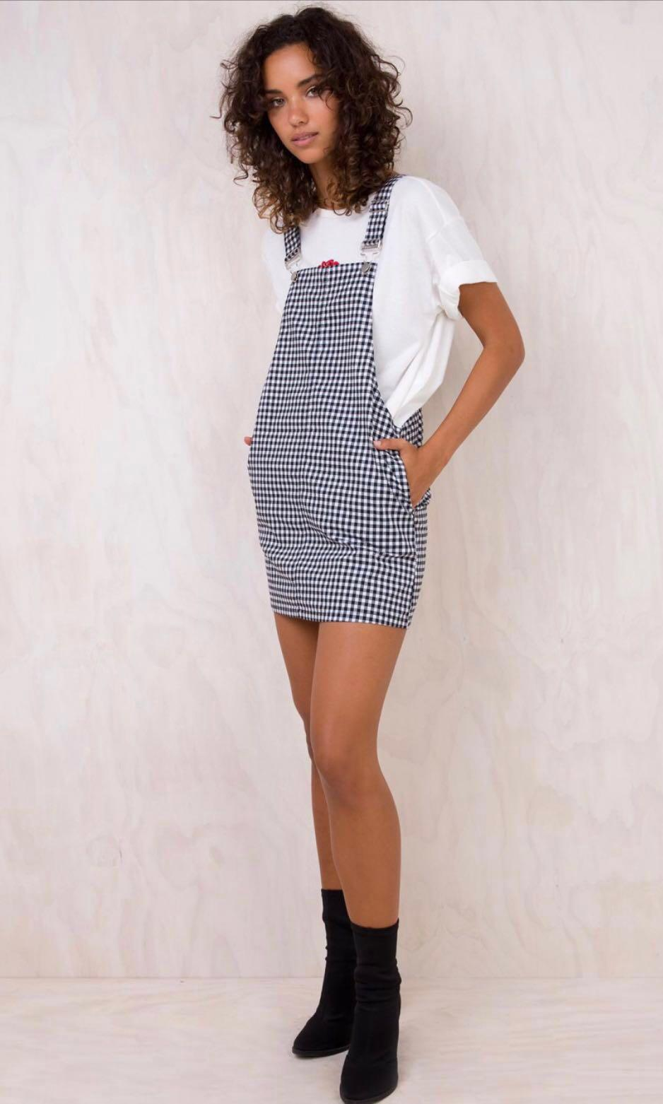 overall dress black & white NEW