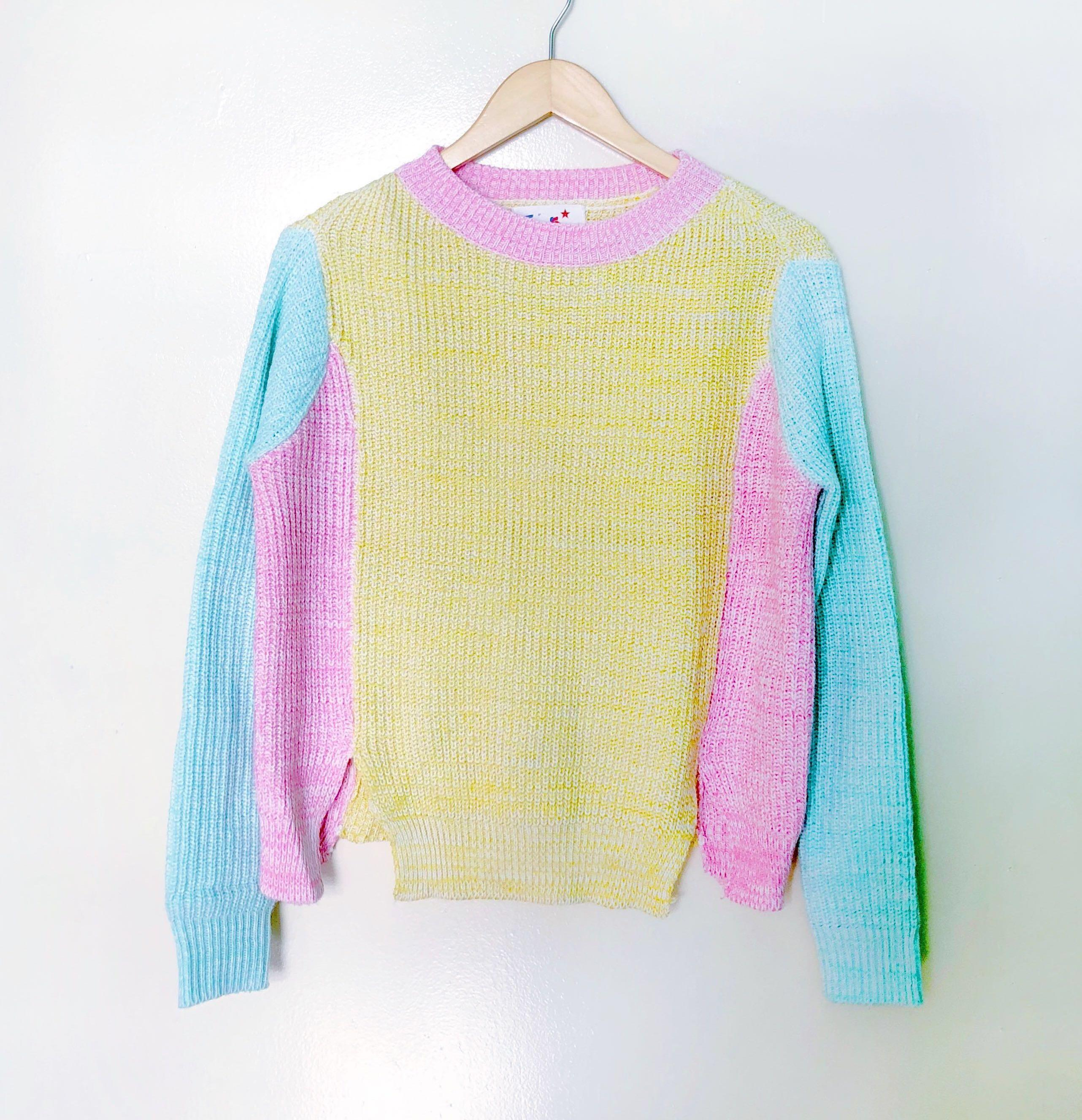 Pastel Colour Block Sweater Women S Fashion Clothes Outerwear On Carousell