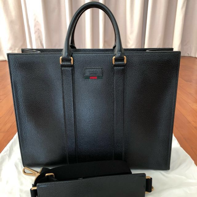 664e89aeca21 Price is negotiable] Gucci Men Leather Tote with Web, Men's Fashion ...