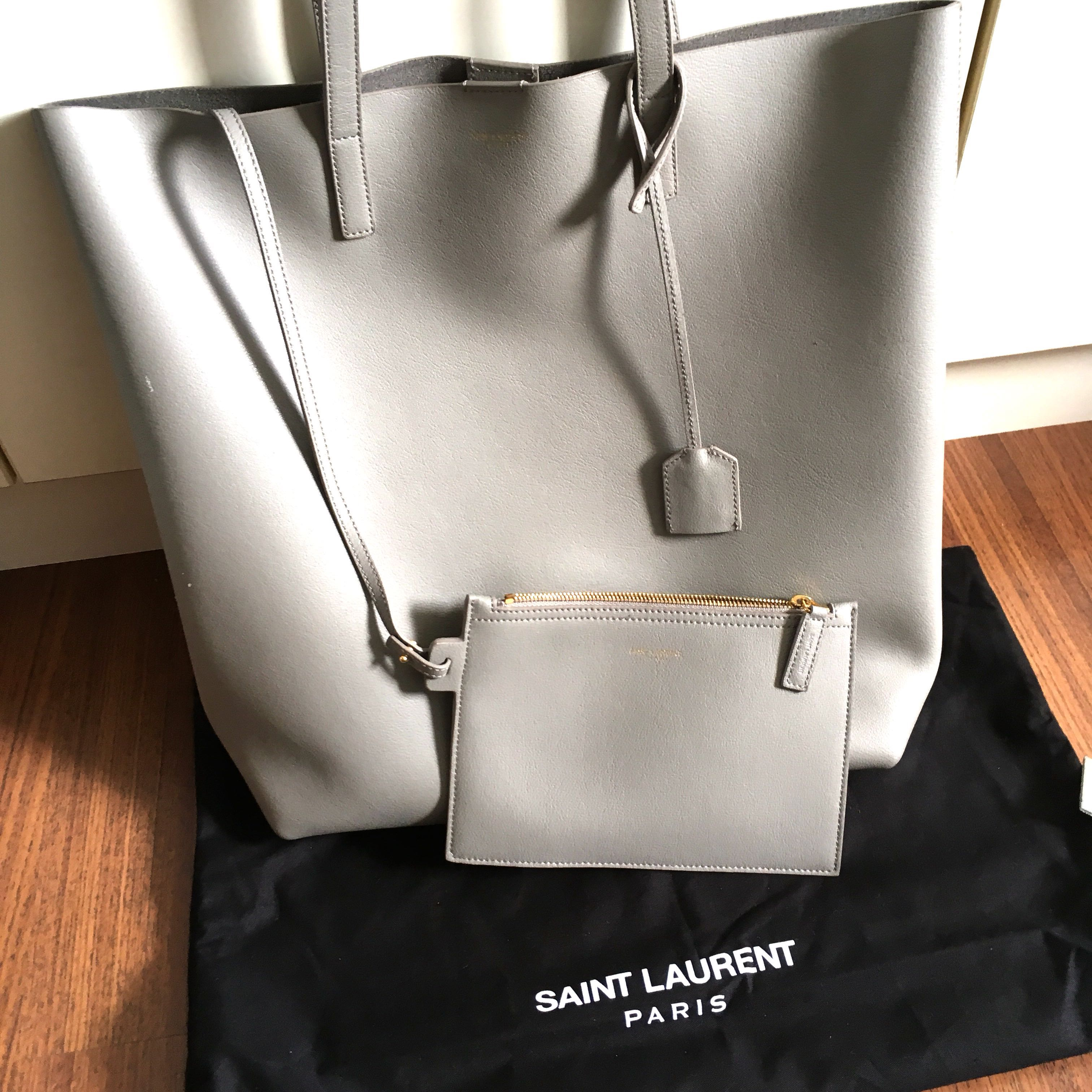 4fc6ab4981479 Saint Laurent grey leather North South tote