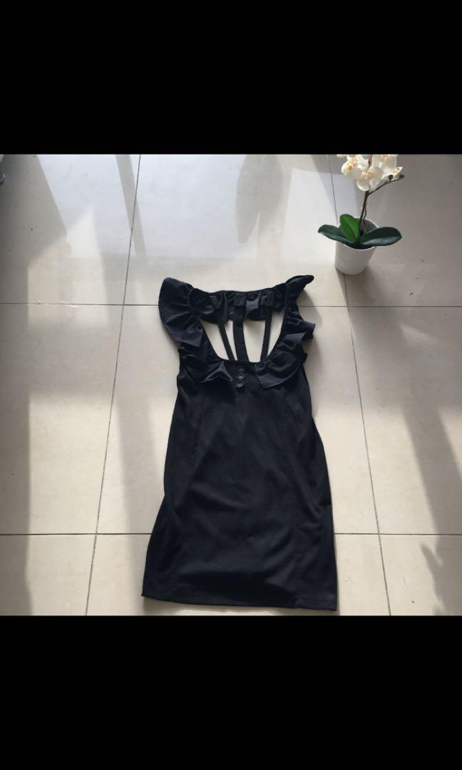 Shilla black low cut dress with frill and strappy back detail