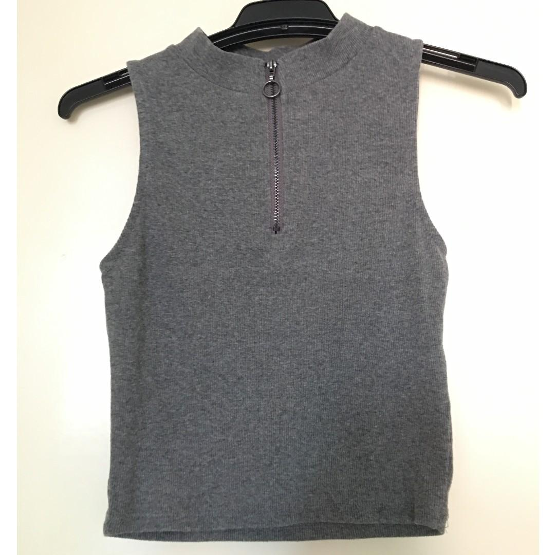 Supre Halter Top in Dark Grey with Zipper Feature