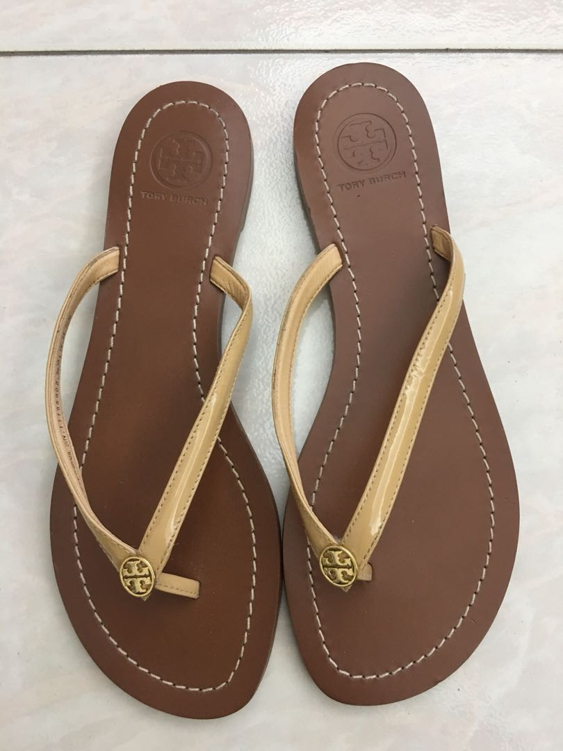 769e11ab442361 Tory Burch Patent Leather Flip Flops