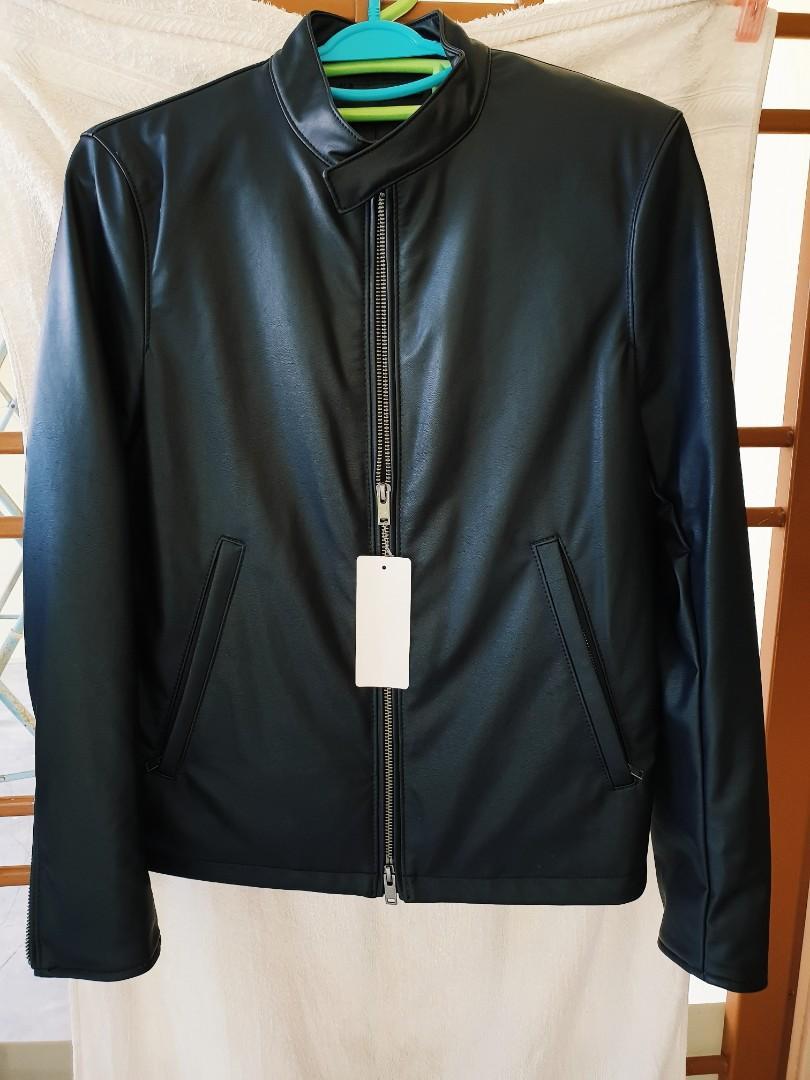 2c48b7070 new* Uniqlo Black Faux Leather Bomber Jacket, Men's Fashion, Clothes ...