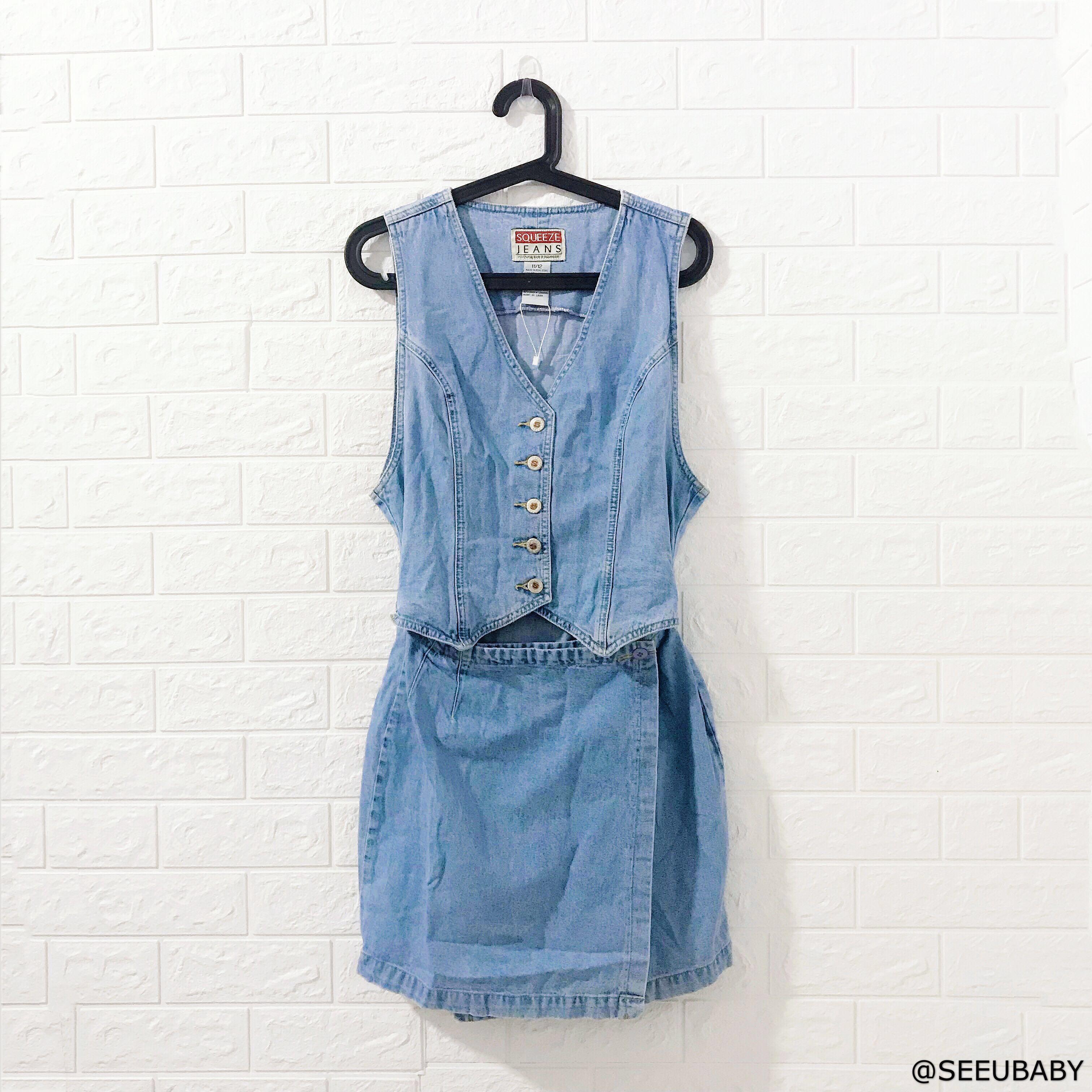 c82d6e8720 vintage denim one-piece overall shirt dress