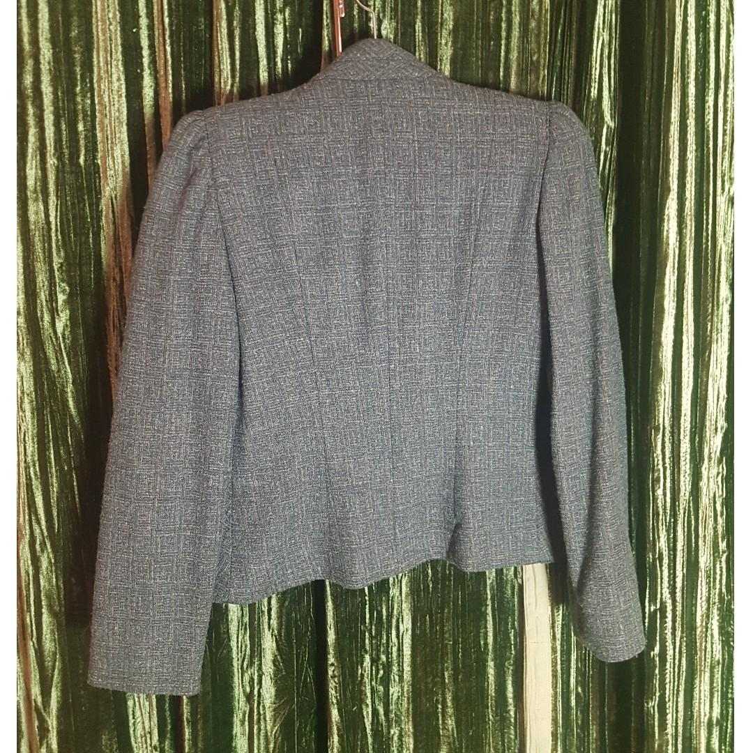 Vintage Grey and Blue Peabody Blazer - Made in Romania