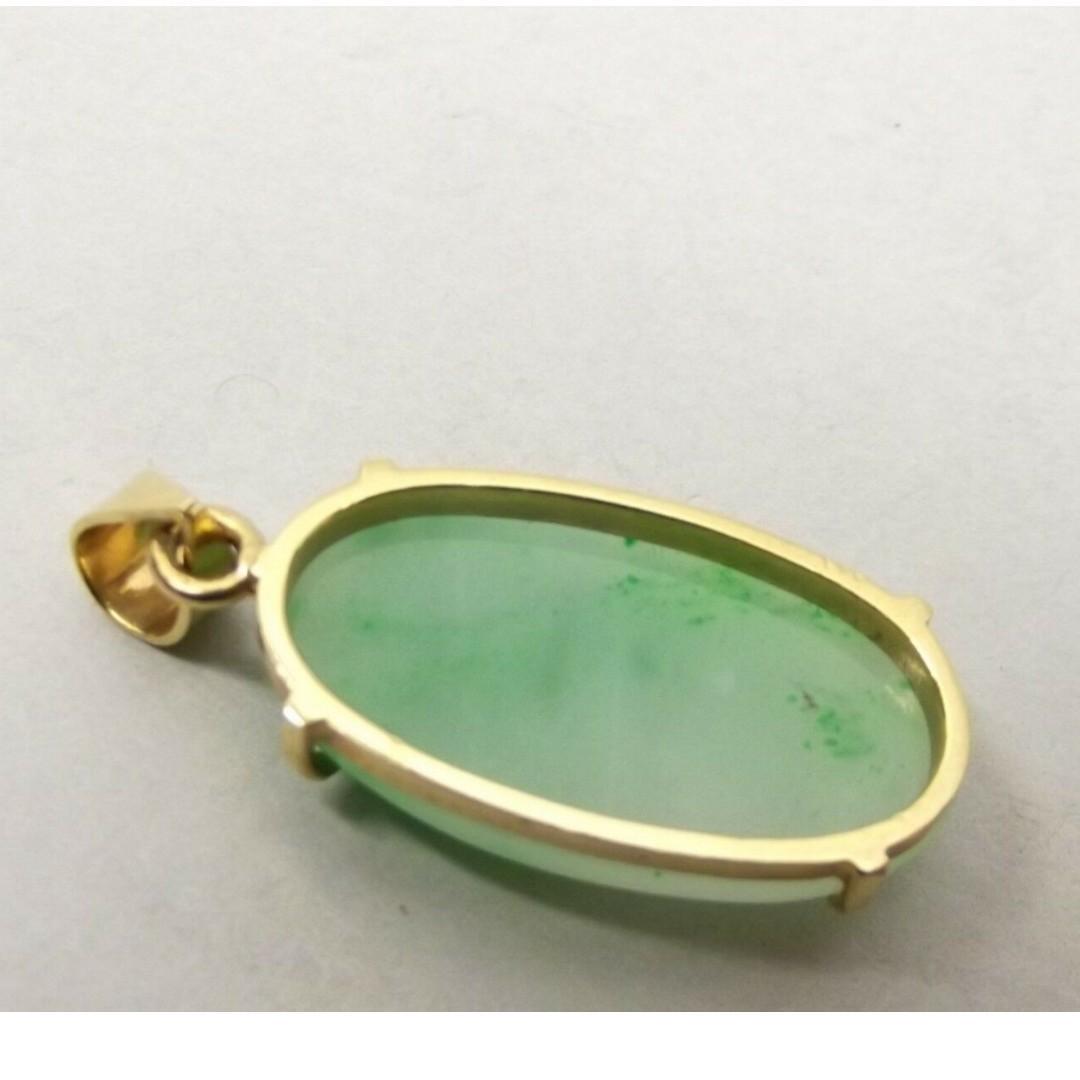 Vtg 14K Gold Carved Green Jade Pendant Oval Cabochon Estate Jadeite