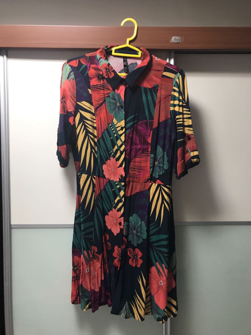 79de80d9 ZARA Tropical Print Dress / Size M, Women's Fashion, Clothes ...