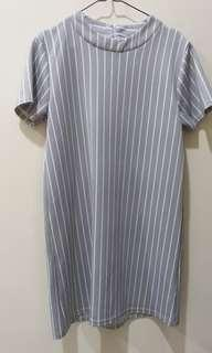 Stripes Grey Scuba Dress