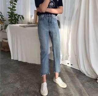 韓版復古淺色寬鬆高腰牛仔九分褲