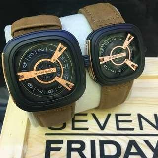 SEVEN FRIDAY Set couple Leather Strap Battery Watch. Free box biasa Free postage  rm120 0126346092