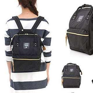 Japan Anello Backpack Unisex Mini Small Black Rucksack Canvas
