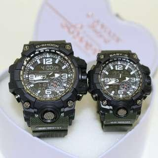 G SHOCK MUDMASTER Set couple  Rubber Digital & Analogue Battery CountDown Timer, 12/24-hour Format, light, Date, Day,alarm Free box  Free postage  0126346092