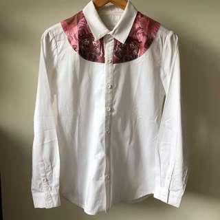 🚚 台灣品牌Machismo數位印刷白色長袖合身襯衫/shirt/老虎 玫瑰印花圖案