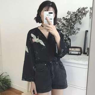 🚚 仙鶴 襯衫 上衣 個性 日本 黑色 浮世繪