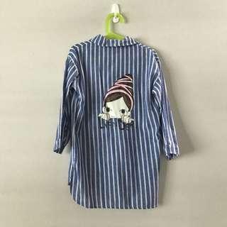 8-9yo white blue stripes shirt