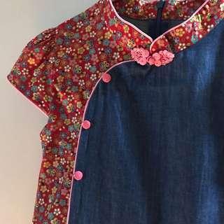 Cheong sam denim oriental dress girl 8-9 years old cotton modern