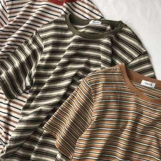 korean uzzlang striped tee