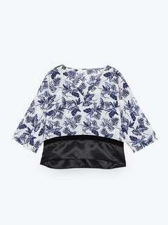 POMELO Natia Floral Blouse - Navy