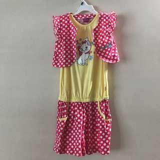 Disney Marie Cat Romper pink white yellow Polka dot two piece jacket 9-10 years old girl