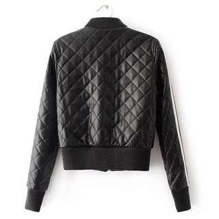 歐美菱格短版PU皮外套 棒球外套