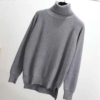 Thick Grey Cotton Turtleneck Sweater