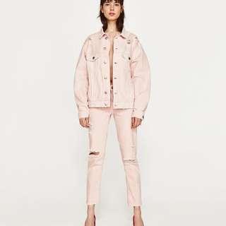全新 ZARA 粉紅刷破仿舊牛仔褲