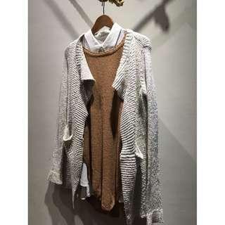 超保暖的混色毛料針織外套 針織罩衫外套