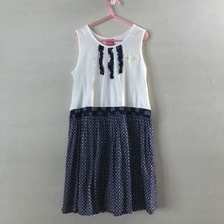 Popeyes Olive Oye Dress white and Blue (9-10 years old)