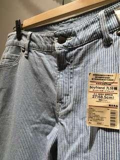 【全新5折】MUJI無印良品條紋褲 boyfriend 9分褲 藍白條紋 古著 日系 丹寧褲