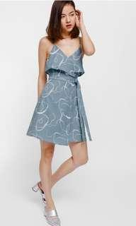 Deshley Printed Layered Sash Tie Dress in Dusty Blue