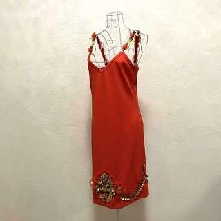 Vermillion Orange Beaded Sequinned Strap Dress