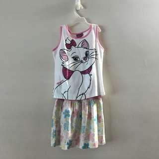 Disney Marie Cat Dress Floral White two piece