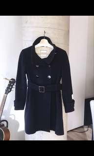 Aritzia Babaton Women's Wool Long Belted Coat Navy Size Small