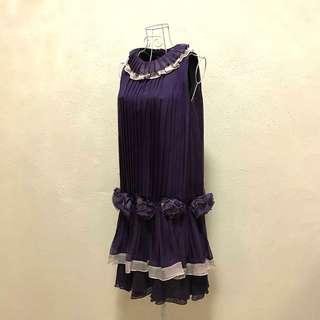 BCBG MAXAZRIA Purple Halterneck Flouncy Dress