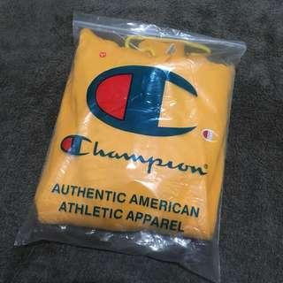 yellow champion small logo hoodie