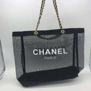 Clearance Sales ! Chanel Gold Strap Net Tote Bag