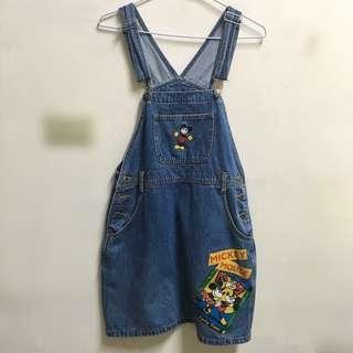 🚚 Disney Mickey Mouse 米奇單寧牛仔吊帶裙 復古 #衣櫃大掃除