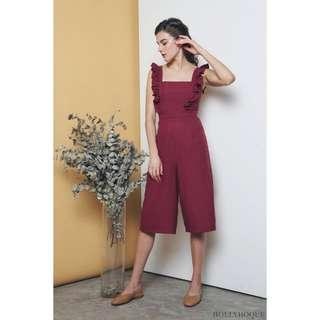 *PERFECT FOR CNY* Hollyhoque Penelope Ruffles Jumpsuit in Wine Size S