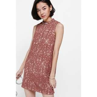 *PERFECT FOR CNY* BNWT Love Bonito Dytina High Neck Crochet Dress in Rust, Size XS