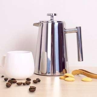 全新銹鋼法壓壺/手沖咖啡壺濾壓壺/家用過濾網沖茶器/便攜泡茶保溫(8人份1L)