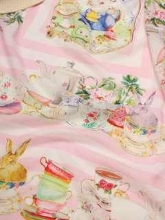 Pink silk rabbit macaron scarf 100x100cm