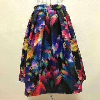 Watercolour Peacock Midi Skirt