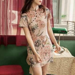 Orient floral cheongsam matter dress