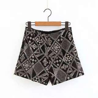 Hot pressed trace sequin pods shorts