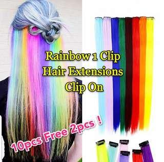1 Clip On Hair Extension Multi Color Rainbow DIY