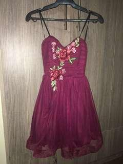 Strapless Maroon Cocktail dress w/ flower embroidery (RENTALS ONLY)