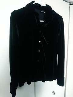 Black velour button down